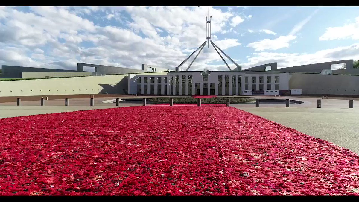 Take a short flight with us over the sea of poppies carpeting the Forecourt ahead of the Centenary of Armistice on Sunday. Photography by @ClaireTakecs #HonourTheirSpirit #5000Poppies @EUAustralia @DVAAus #RemembranceDay2018