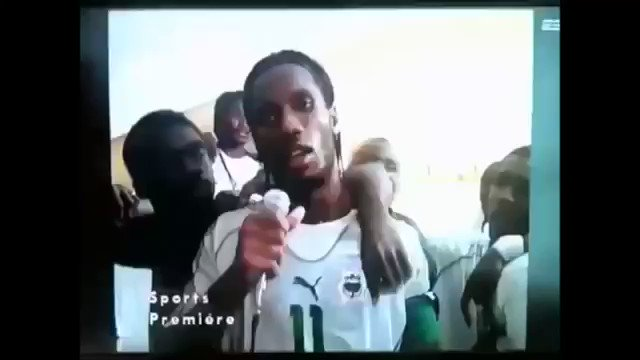 Didier Drogba: Great player, incredible human. Ivory Coast had been in civil war for 3 yrs when they qualified for the 2006 World Cup. Heres Drogbas speech to the nation after the game which helped convince the government & New Forces to hold a ceasefire & restart peace talks.