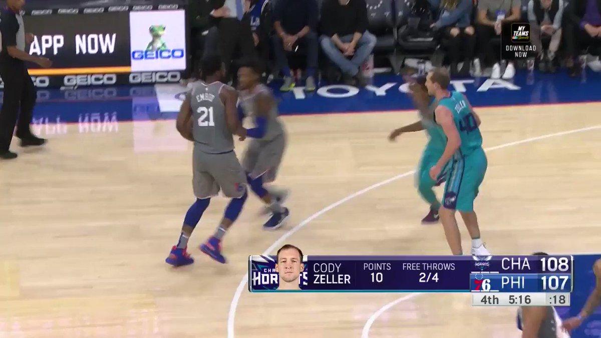 Miles Bridges gets up for the rejection inside!  #Hornets30 110 #HereTheyCome 108  3:29 left on @NBATV https://t.co/ImchYuoCXA
