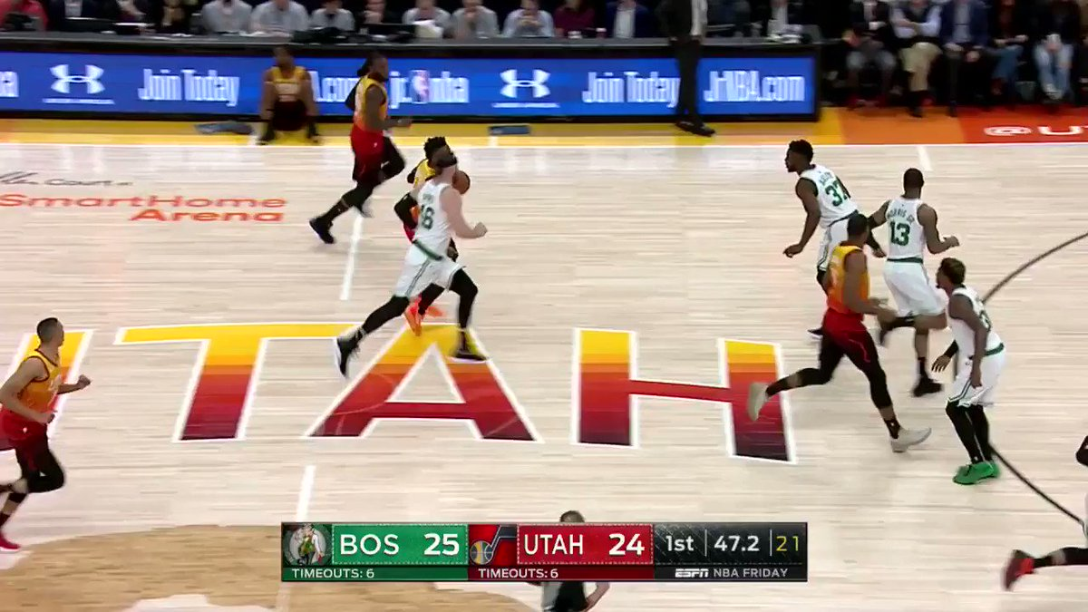 Donovan Mitchell sets and fires from 3!  #TeamIsEverything 27 #CUsRise 25  One quarter in the books on @ESPNNBA https://t.co/q8IaaOtjrs