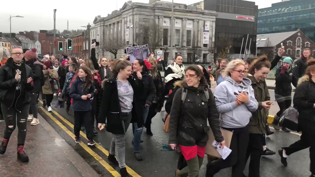 Image for the Tweet beginning: Hundreds march through #Cork city