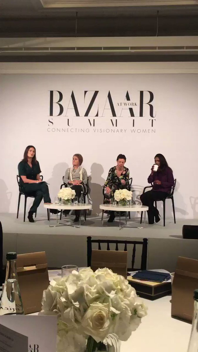 """Author @elizabday moderates """"Speaking truth to power: The Women Changing our society"""" with three pioneering women @thatginamiller @HilaryCottam @springfield16 at #BazaarSummit"""