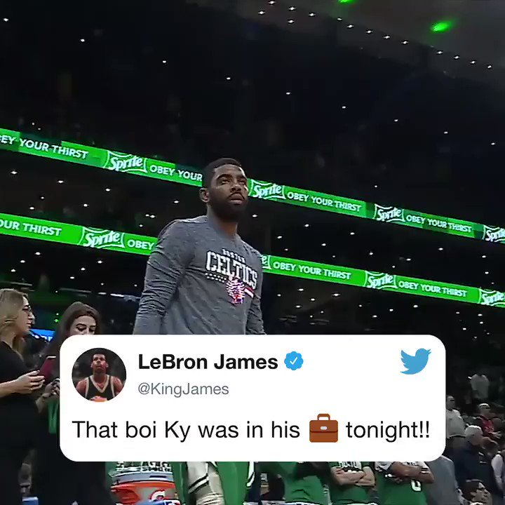 43 pts on 18/26 FG @KyrieIrving hooping got @KingJames' attention 👀