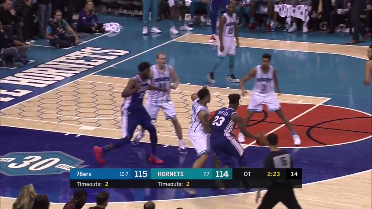 Big shot from JJ!  #HereTheyCome 119 #Hornets30 114  1:13 to play in OT on League Pass: https://t.co/L3VurkatG8 https://t.co/E9tJTQPRRA