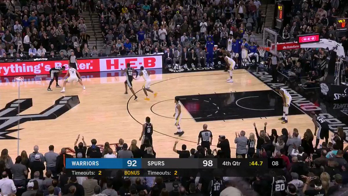 Patty Mills to extend the @spurs lead late!   #GoSpursGo 101 #DubNation 92  37.7 left on @NBATV https://t.co/Fq4Yul9Ykp