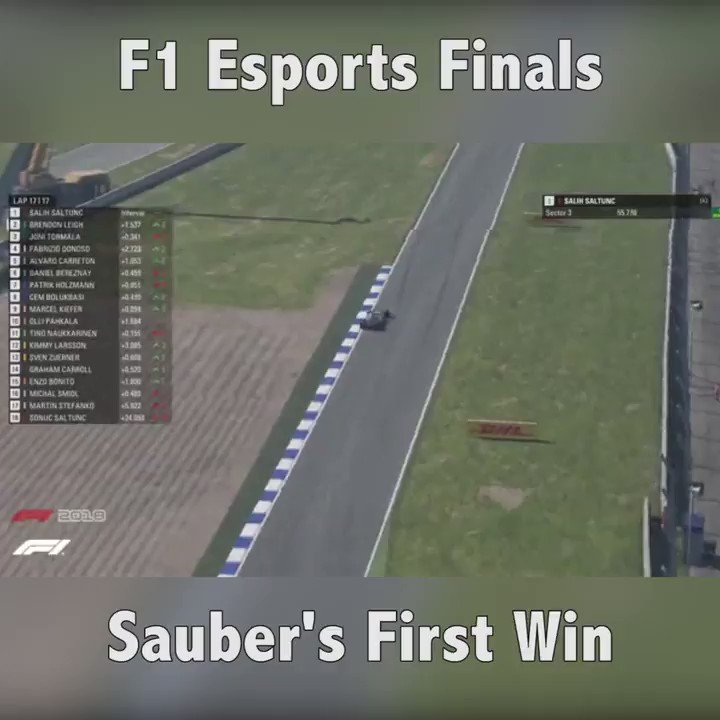"""""""I'm glad the steering wheel is still on!"""" 😂   The moment @VeS_FlyingFinn took our first win of the #F1Esports series! 🏆"""