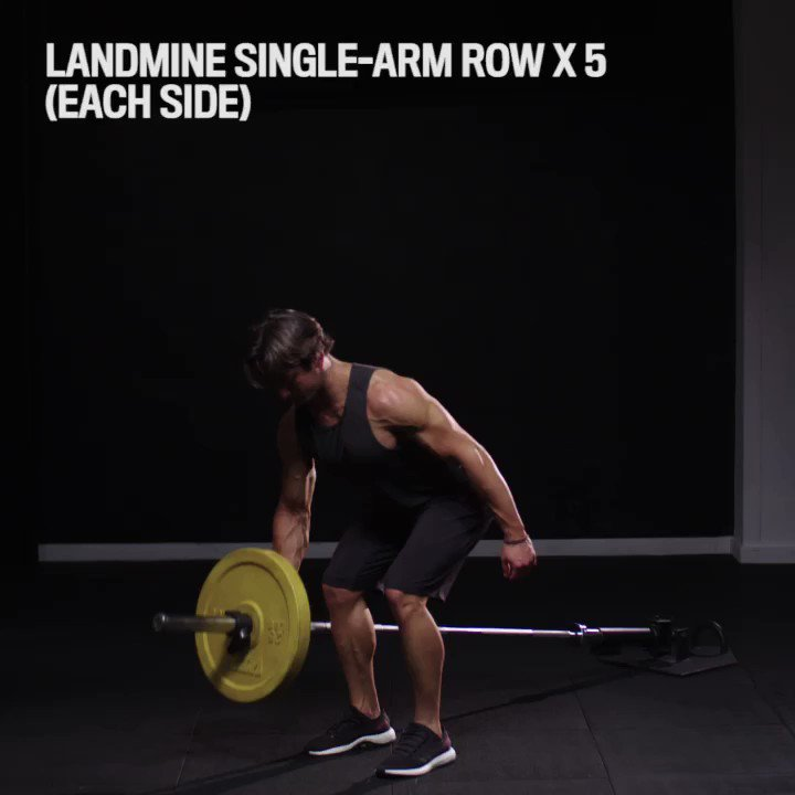 Stringing together a landmine workout. 👊💦   Single-Arm Row x 5 (each side) Two-Arm Row x 10 Single-Arm Squat + Press x 5 (each side) Squat x 10  Rest 60s. Repeat 4-6 rounds