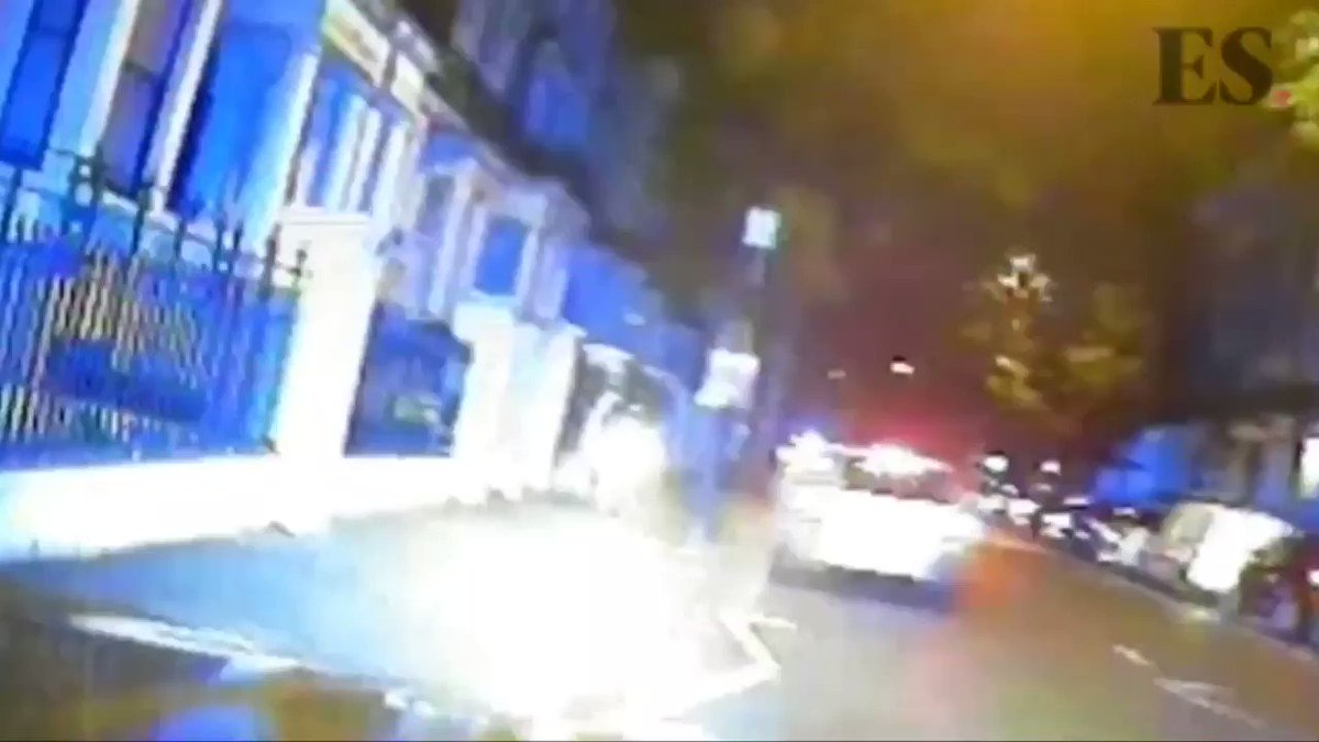 """😏This is satisfying...  Extraordinary dashcam footage shows police pursuit drivers ramming fleeing moped thugs, sending them sprawling in the road. Police said the new strategy of ending pursuits with what the Met calls """"tactical contact"""" was now in common use across London."""
