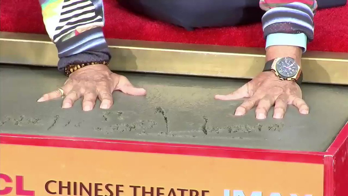 Congratulations to composer and film/music producer #QuincyJones who made his mark in Hollywood today by putting his hands and feet into cement in the forecourt of the TCL Chinese Theatre. @QuincyDJones