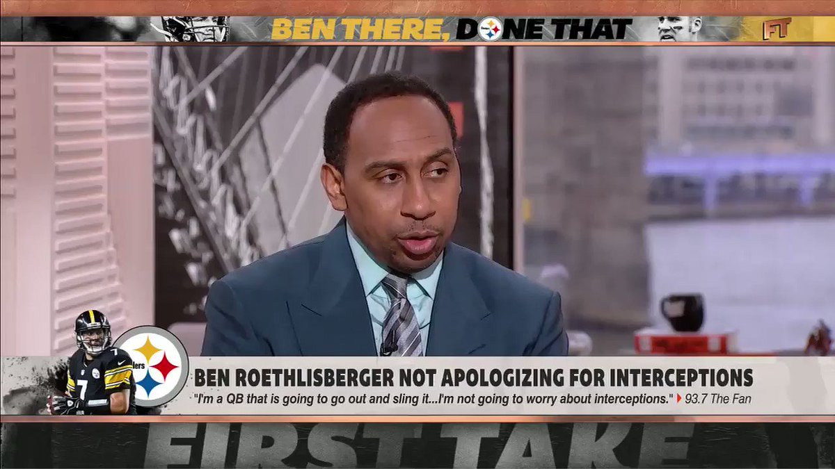 .@stephenasmith was not here for Ben Roethlisberger's comments at all.