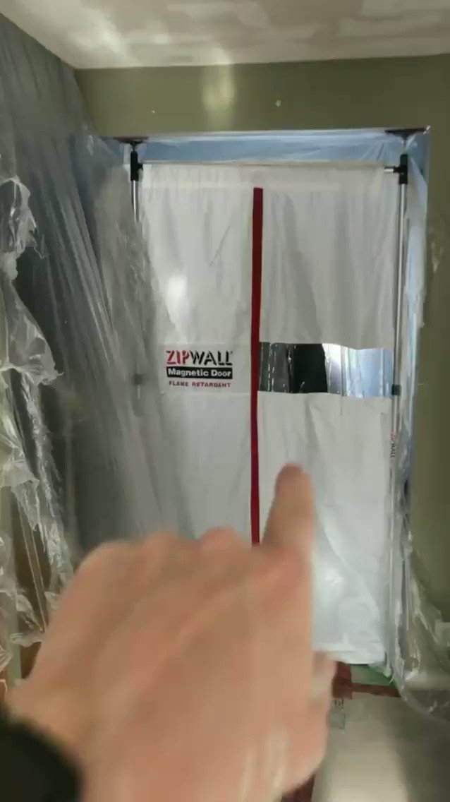 Image for the Tweet beginning: ZipWall® Magnetic Door in action