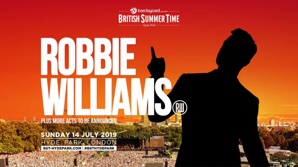 Final call for pre-sale tickets! Get yours before they go public tomorrow and I'll see you next summer x https://t.co/RB4H77Nm6t #BSTHydePark #RobbieLive https://t.co/gV2DzTFmYb