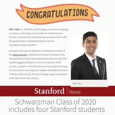 Congratulations to our brilliant son, Neil Jain, for being selected as Schwarzman Scholar. What an amazing accomplishment to be in the top 150 students from around the world.
