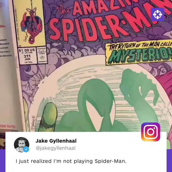 Jake Gyllenhaal will play Mysterio in Spider-Man: Far From Home. �� https://t.co/3N512OzhQy