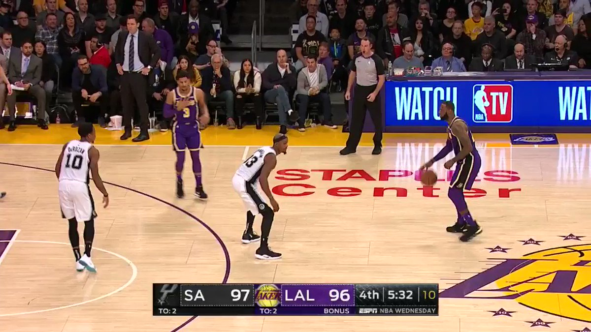 LBJ NEAR THE LOGO! ☔️����  He's up to 36 in the contest.  #LakeShow 99 #GoSpursGo 100  4:15 to play on ESPN https://t.co/GBTp459F09