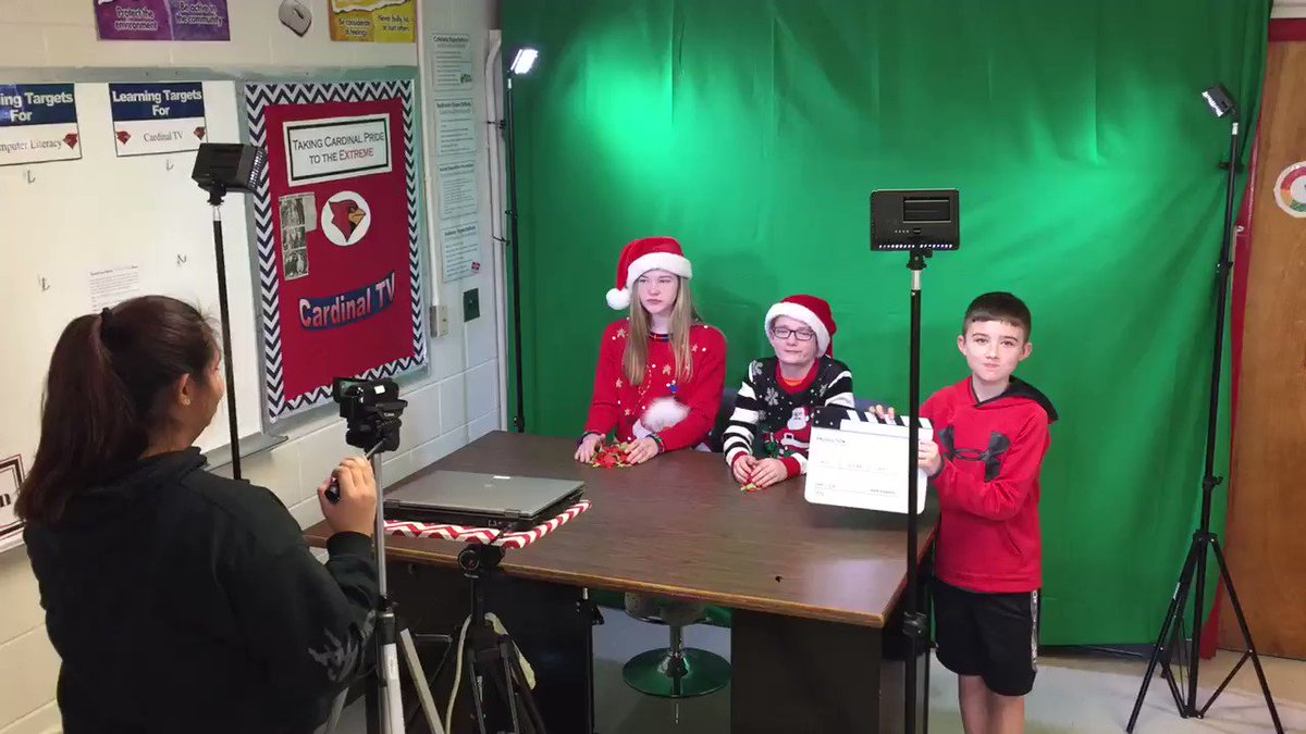CTV is recording their Christmas Episode! 🎥🎄🎅🏻⛄️ @CMSCardinals