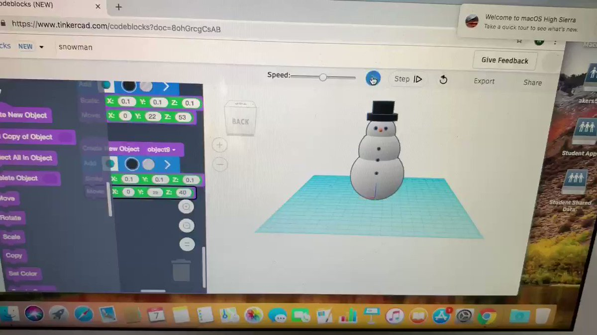 Winter themed coding + 3D design challenge! Frosty the codeman 👍 @CMSCardinals @tinkercad