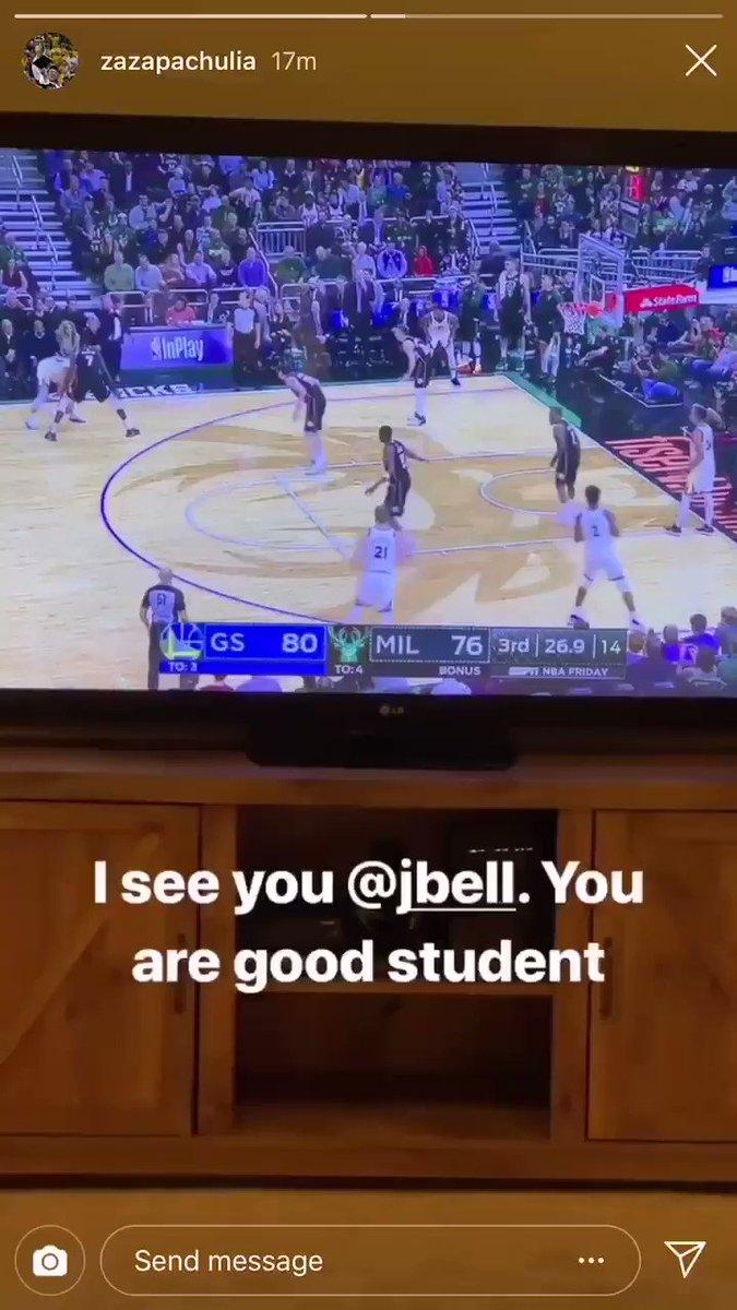 Jordan Bell earns praise from former Warriors' center Zaza Pachulia