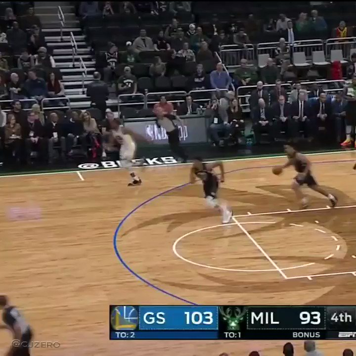 Giannis one dribble from halfcourt & slam from just inside the FT line