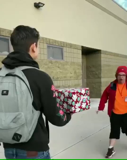 Heartwarming moments only happen when someone cares about others.   Student gets a present for his special needs classmate who loves cement trucks. His reaction is priceless.