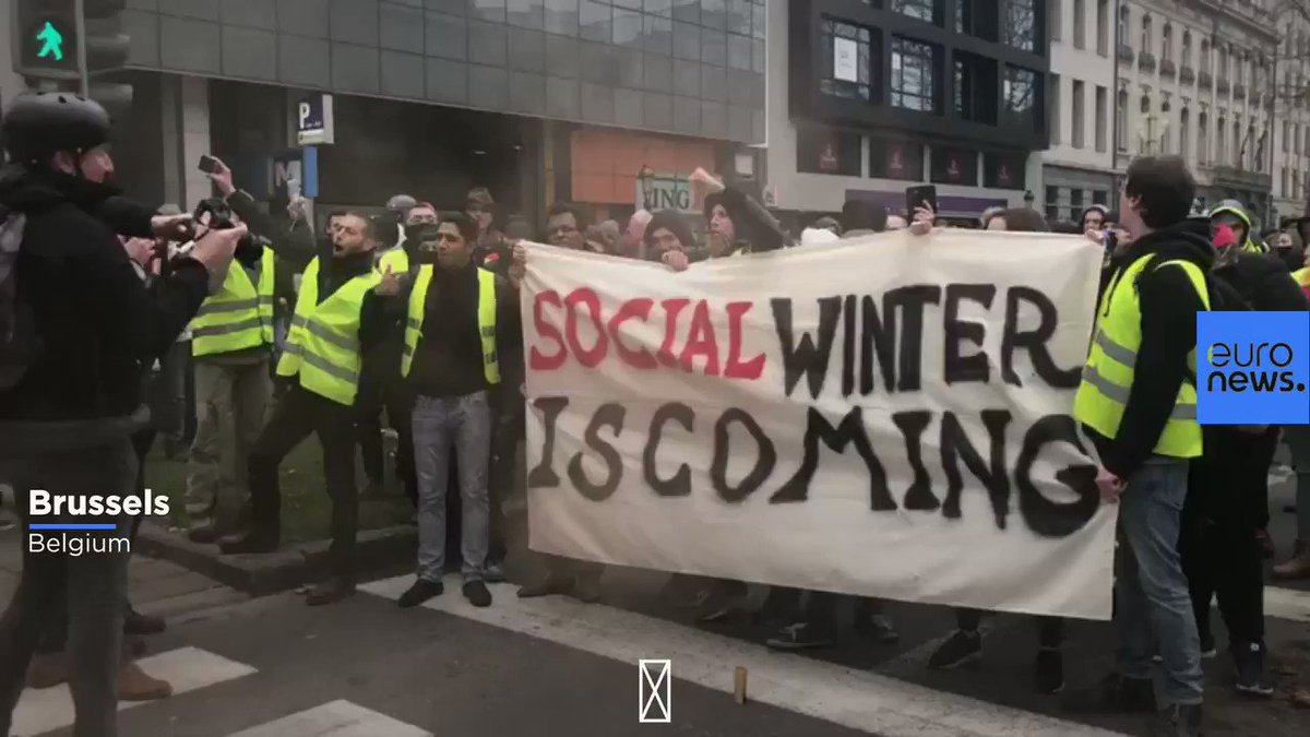 Social Winter is coming. Euronews @GhadakpourN shows a banner and Yellow Vest protesters on the streets of Brussels, Belgium this afternoon. euronews.com/live