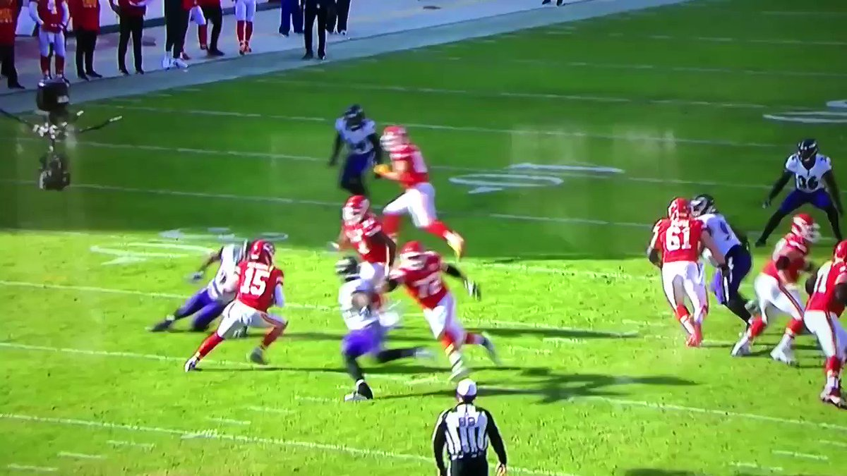 Patrick Mahomes' no-look pass. He's just different