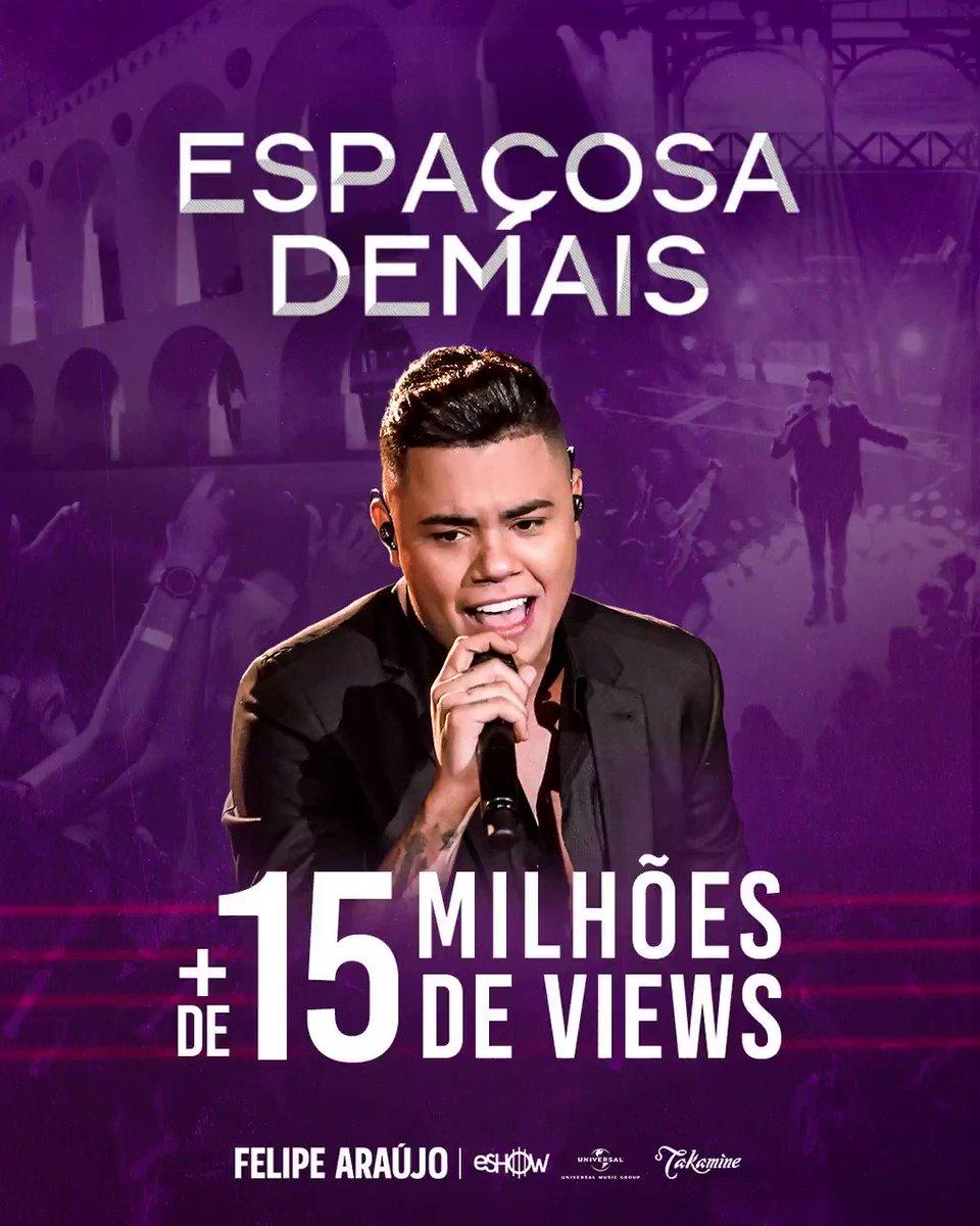 Mais uma notícia boa pro início da semana: Já são mais de 15 milhões de views no clipe #EspaçosaDemais, no @youtube! Vocês já tomaram meu coração e estão subindo pra cabeça. Obrigado galera! ❤ #FelipeAraújo #EspaçosaDemais