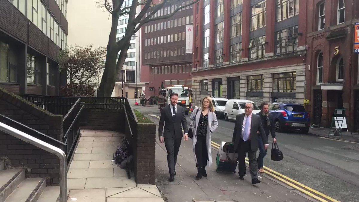 Ex GB sprint cyclist Jess Varnish arrives for landmark discrimination case employment tribunal in Manchester accompanied by fiancée & former BMX champ Liam Phillips