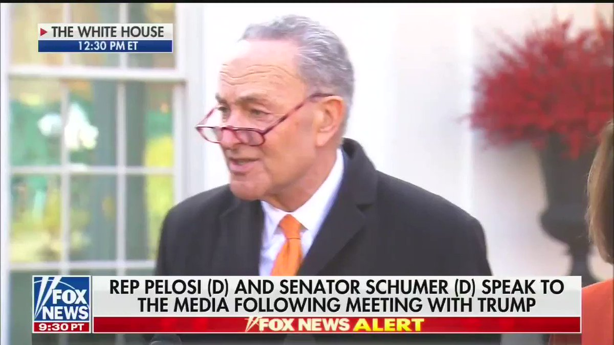 """Senator Chuck Schumer after meeting with Trump: """"The president made clear that he wants a shutdown.""""   """"Americans know the wall is not the way to border security."""""""