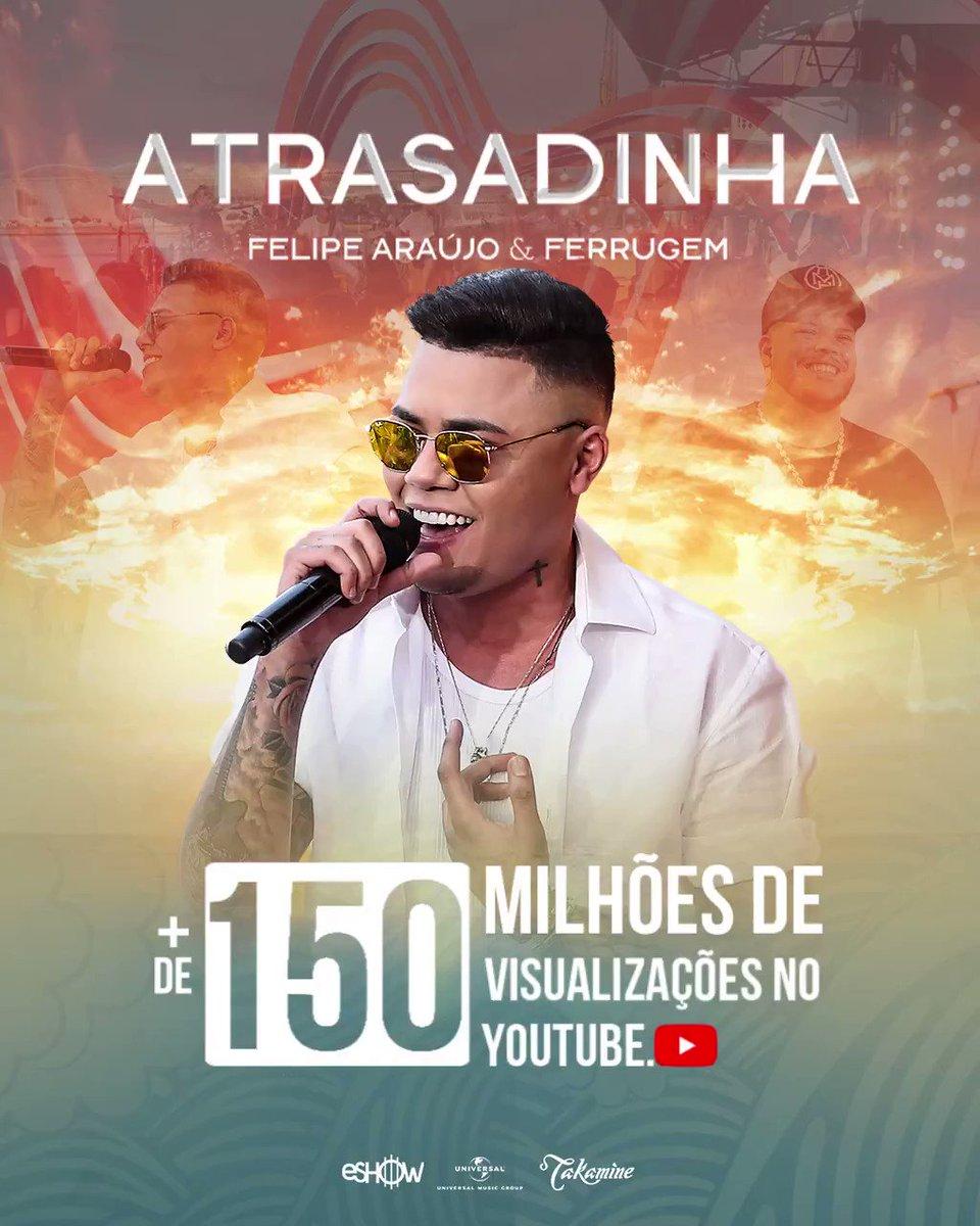 Vamos pular pra parte que eu falo que a #Atrasadinha está com mais de 150 milhões de views, no @youtube!!!! 💥💥💥 É felicidade que fala? Gratidão a Deus! E a vocês! 🙏🏾 😍 #FelipeAraújo #VamosPular #PorInteiro