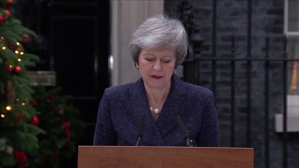 Britain's Theresa May says she will contest her leadership challenge and outlines the risks posed to the #Brexit process