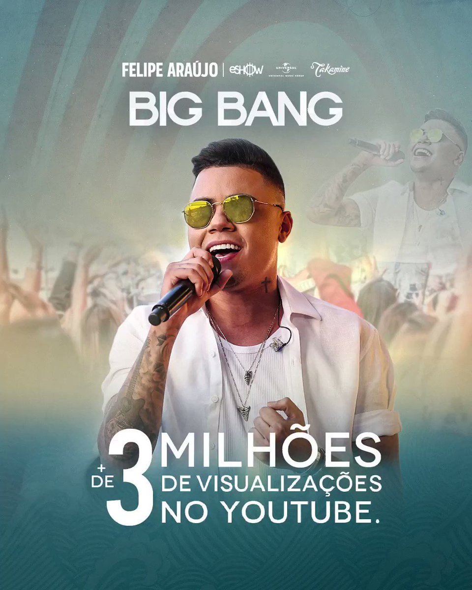 Foi explosão mesmo! 💥 🎶 Mais de 3 milhões de views no clipe #BigBang. Valeu turma!!!!✌🏽 #FelipeAraújo #PorInteiro