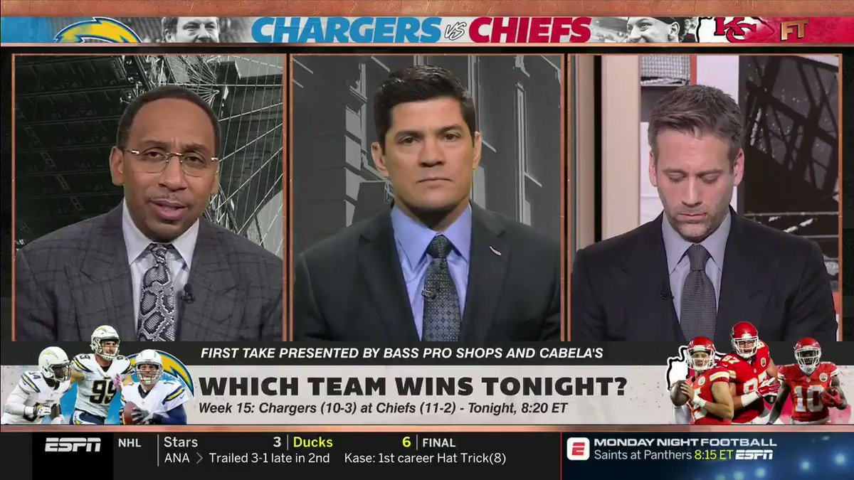 In just this short clip Stephen A. Smith: — Forgot Spencer Ware was out — Called them San Diego Chargers — Said he was looking forward to watching Hunter Henry, who hasnt played all year — Said Henry was going up against Derrick Johnson, who is a free agent — Broke Tedy Bruschi