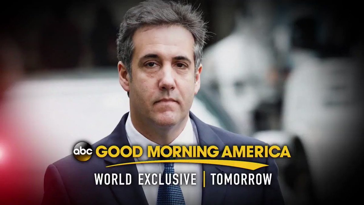 TOMORROW: AN @ABC EXCLUSIVE: Michael Cohen sits down with @GStephanopoulos, speaking out for the first time since being sentenced. What will he say? Watch the exclusive interview tomorrow only on @GMA.