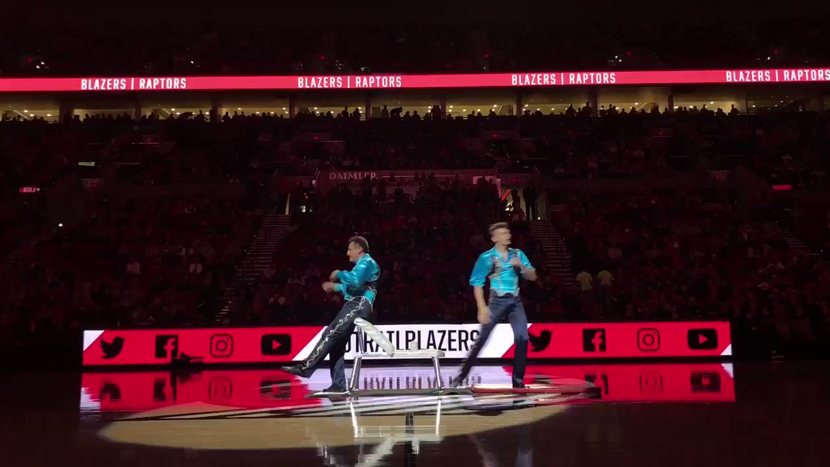 Anyone else's head spinning after watching this acrobatic @trailblazers halftime performance?
