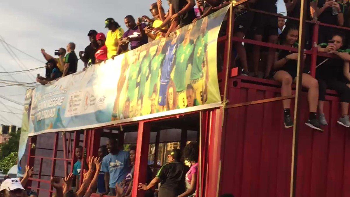 Happening now: Reggae Girlz motorcade Hype Zone in Spanish Town. #ReggaeGirlz #FIFA #WomensWorldCup #Jamaica