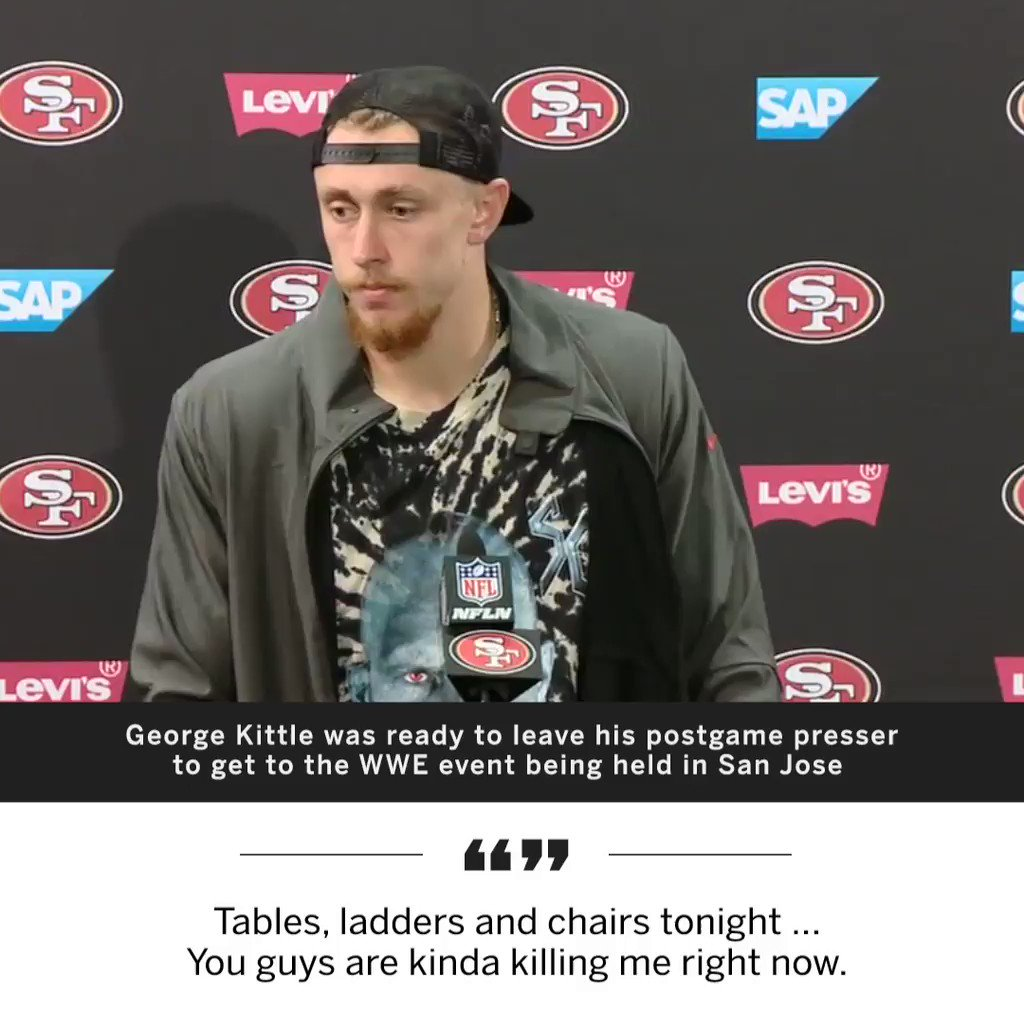 George Kittle loves him some WWE �� https://t.co/fjz9DA2Ycl