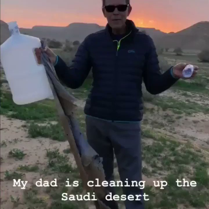 Professor Hannu Alho visited #Saudi Arabia from Finland for #AdDiriyahEPrix last weekend. I took him to my favorite place in the beautiful Saudi desert-sadly we found lots of trash.I hope his words can inspire others like he has inspired me since I was a kid. #leavenotrace #ksa