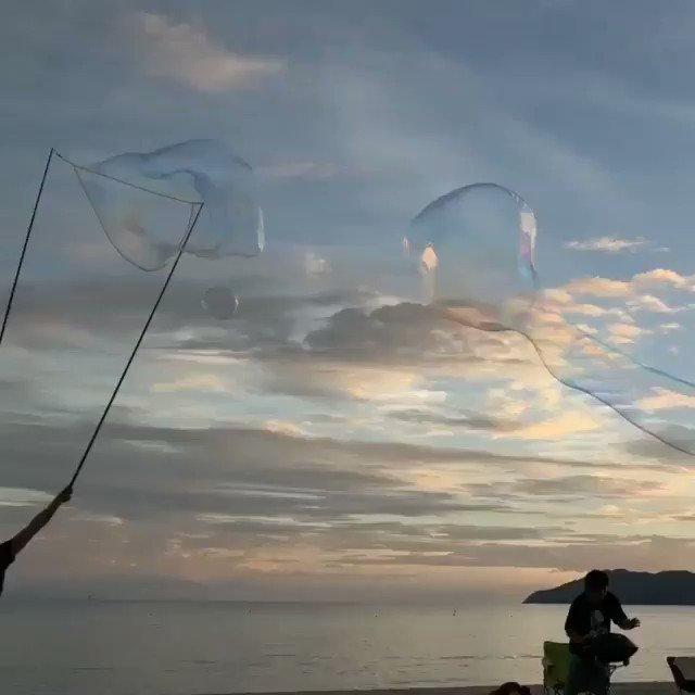 ふるさと…  虹ヶ浜でのシャボン玉。  『夢のせかい』って言ってくれて  ありがとう