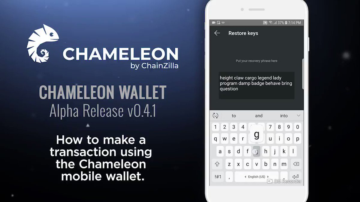 This is a small demonstration of how to make a transaction using the Chameleon Wallet. Full Video: https://youtu.be/ABAYPD7drV8 - Chameleon will play a vital role in our ecosystem, making it easy to onboard clients and host their crypto assets. @KomodoPlatform @NEMofficial $ZILLA