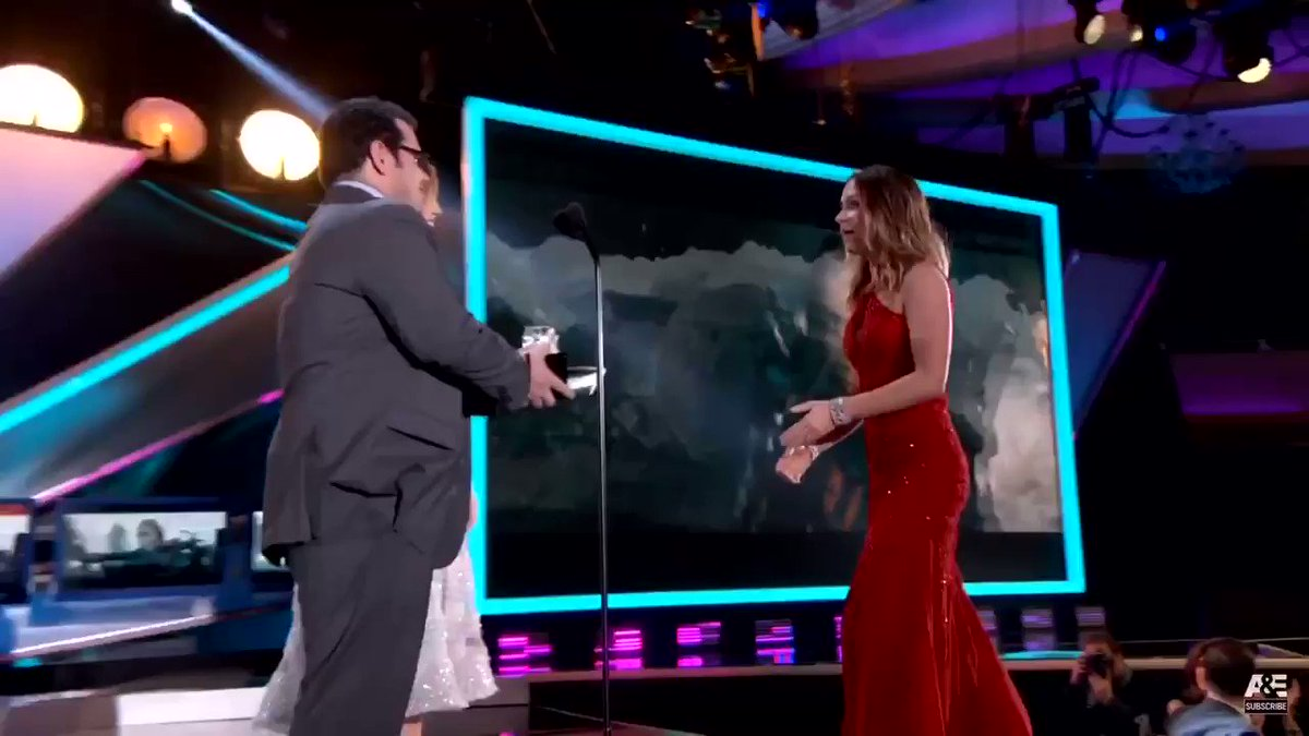 Emily Blunt being surprised by husband, John Krasinski, after winning an award (2015)
