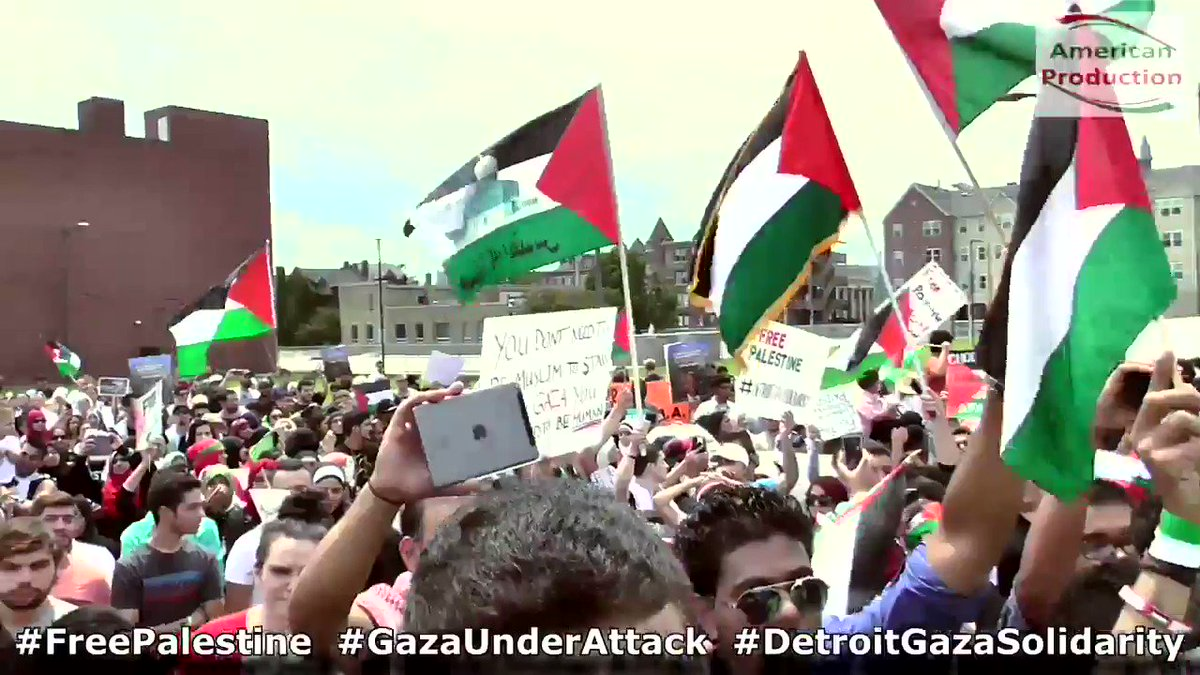 Fun Fact: Here's Rashida Tlaib actively participating in a pro-Jihad TERROR rally in Detroit, 2014.  She's wearing a Palestinian war scarf which represents Hamas!! A well known terrorist group that wants Israel wiped off the map.  Nice work Detroit.🙄