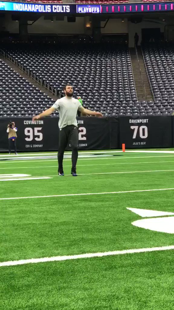 Is Andrew Luck dancing or warming up or both? 🤔