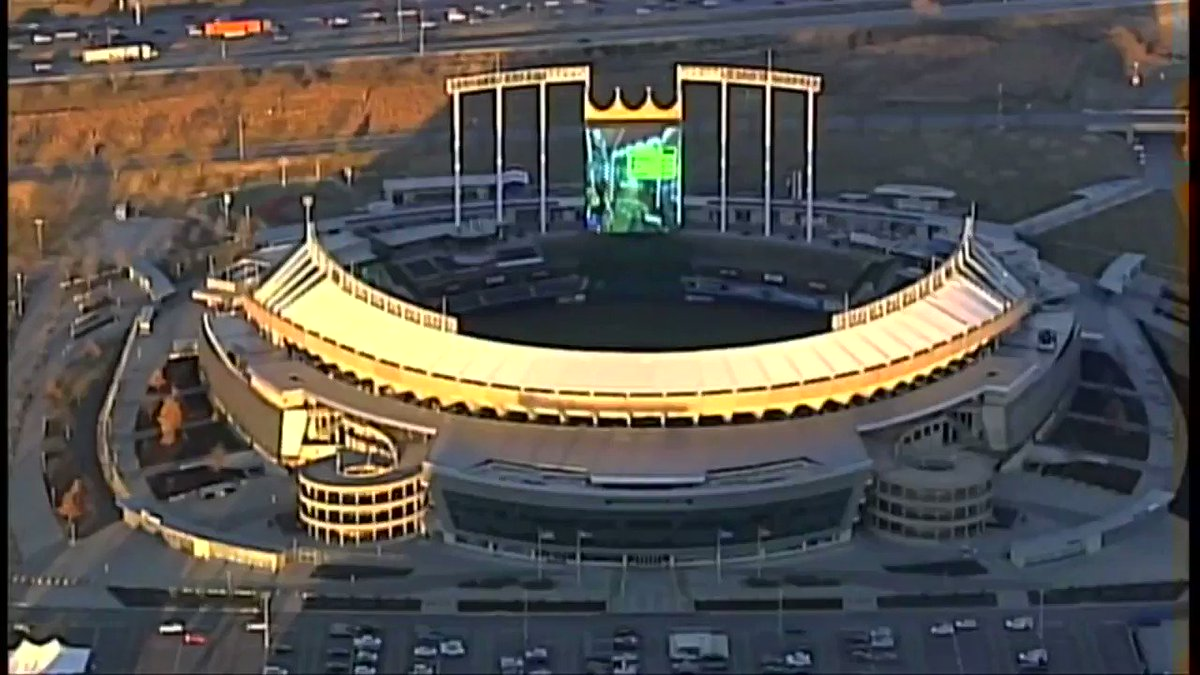 we sent our helicopter out to get aerials of Arrowhead Stadium and on its way there it noticed a game of Mario Kart had broken out on the Crown Vision board at Kauffman Stadium?? 😂