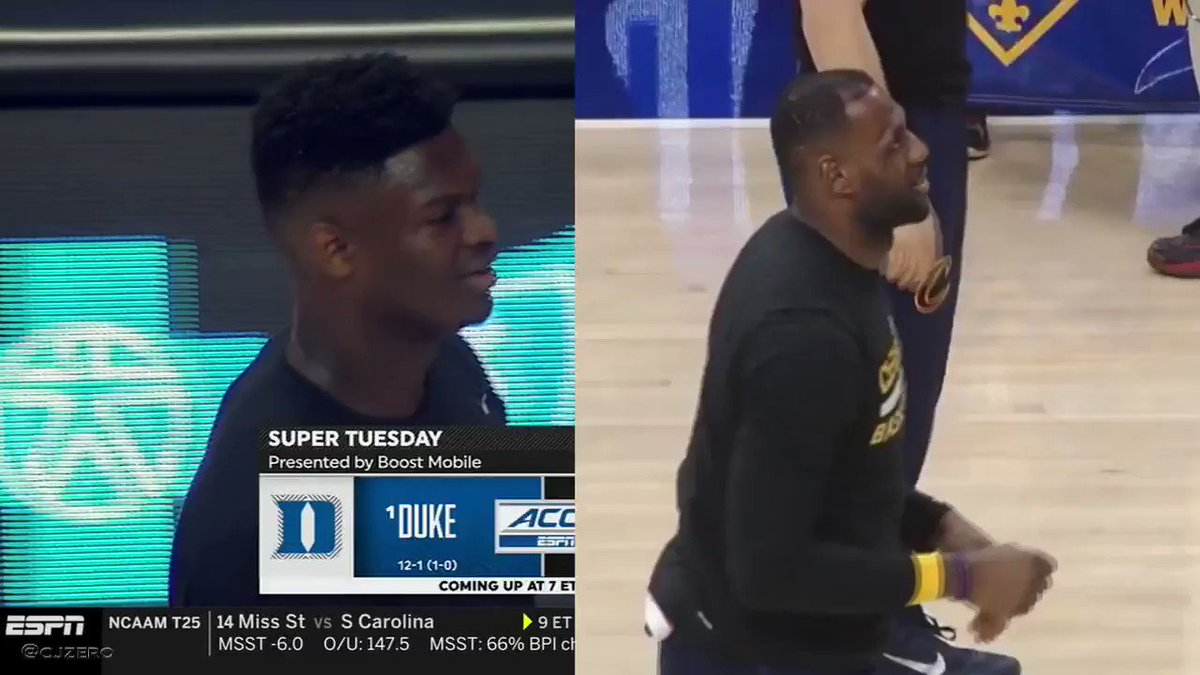 Zion x LeBron - side by side ball to the head