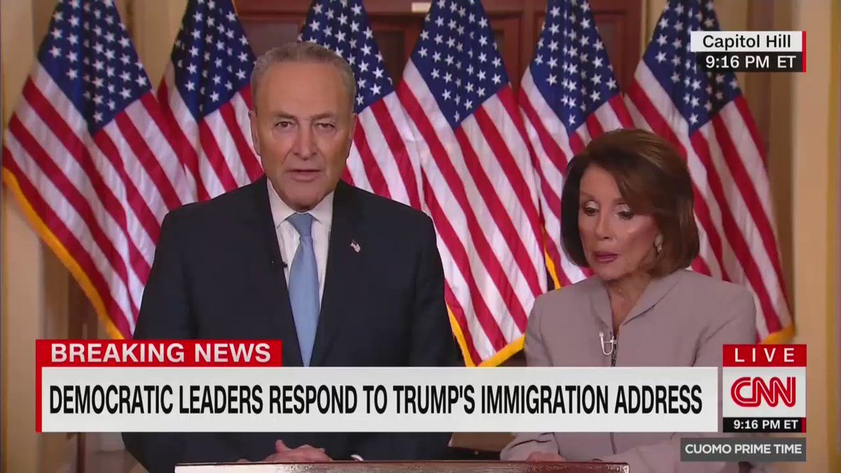"""Chuck Schumer tonight: Trump's border wall is """"ineffective"""" and """"unnecessary""""   Chuck Schumer in 2009: """"630 miles of border fence"""" made our southern border """"far more secure"""" because it """"created a significant barrier to illegal immigration"""""""