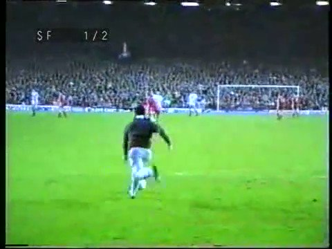 31 years ago today a Swansea fan scored at Anfield in the midst of an 8-0 tonking in the FA Cup.  So much to love here: the shoes, the jeans, the wistful, melodic slow-mo. And then the steward's slide tackle that finally cleans him out.  Poetry.