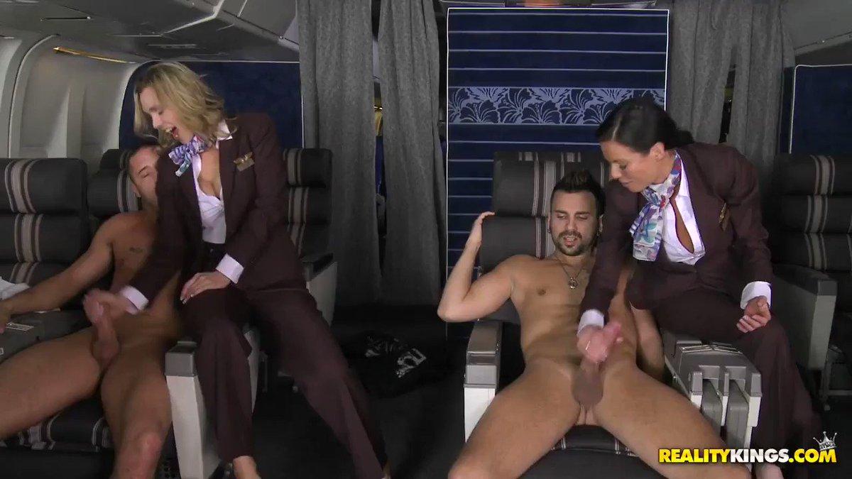 Airline stewardess flashing