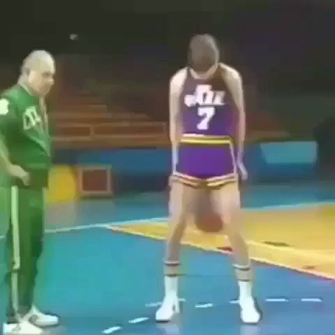 Here's Pete Maravich showing off his ridiculous 'bullet ricochet drill.' Happy birthday, Pistol Pete! 🎞