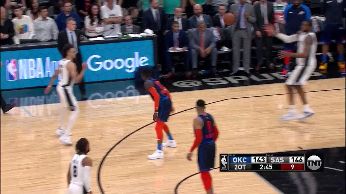 LaMarcus (52p/8r/4a) to DeMar (16p/8r/11a)!  #ThunderUp 144 #GoSpursGo 148  1:32 remaining in DOUBLE OT on @NBAonTNT https://t.co/57O74Y8ebL